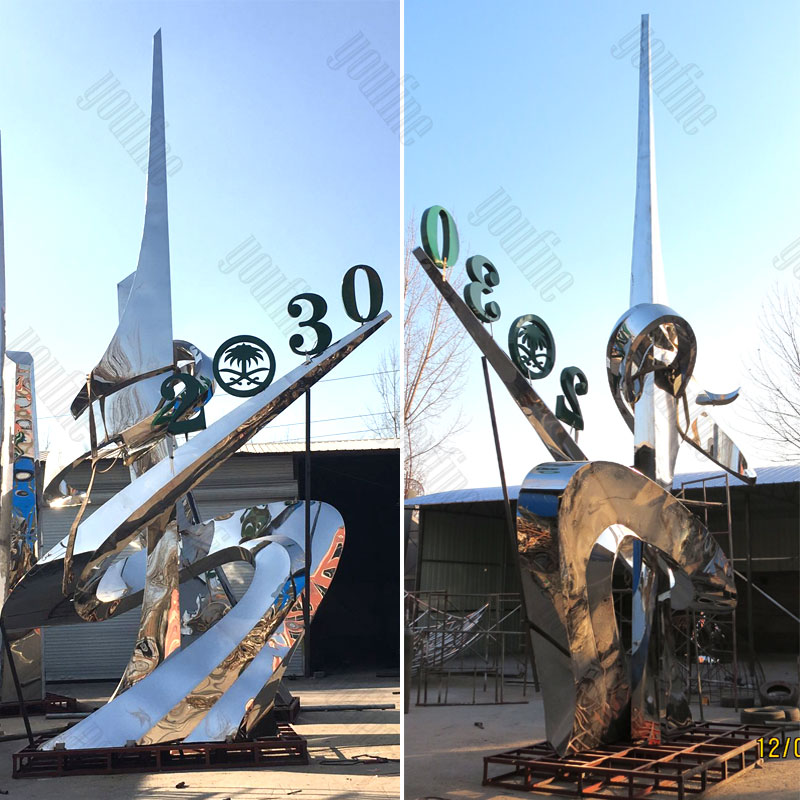 large modern stainless steel sculpture for sale.jpg