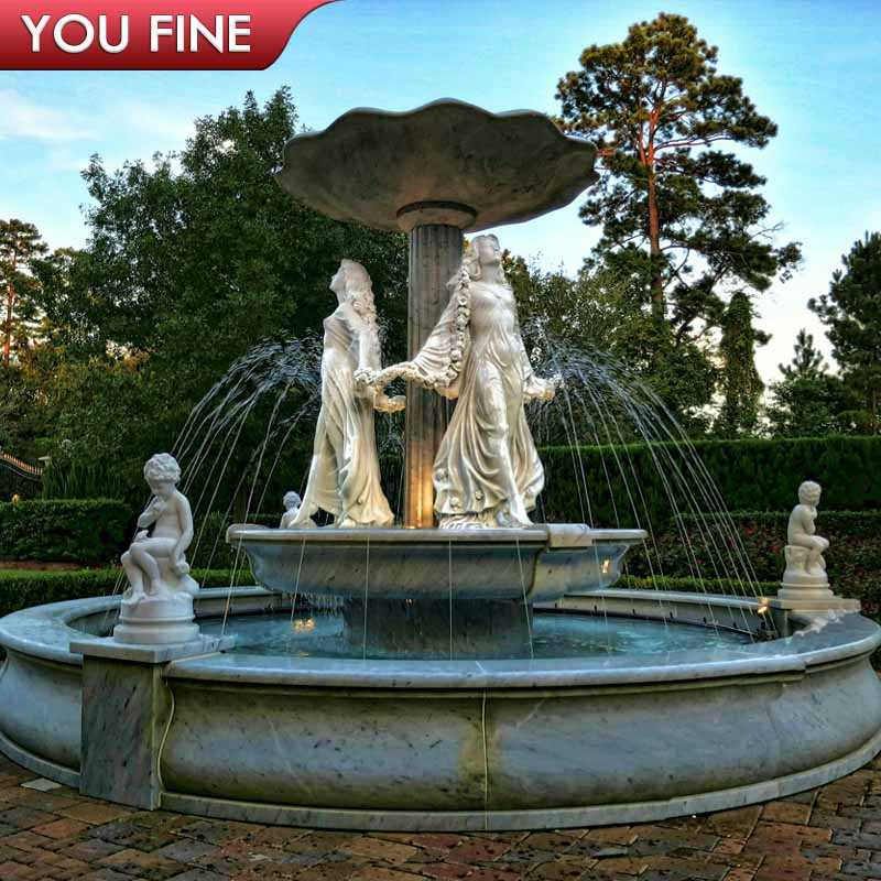 Large Outdoor Water Marble Fountain With Figure Statues