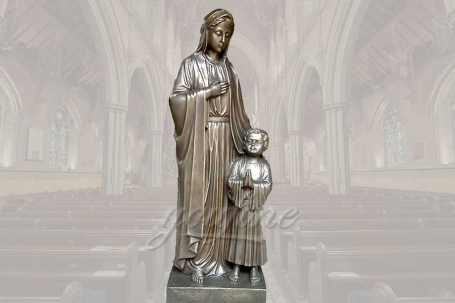 Classical life size religious bronze Mary and Jesus statue for church