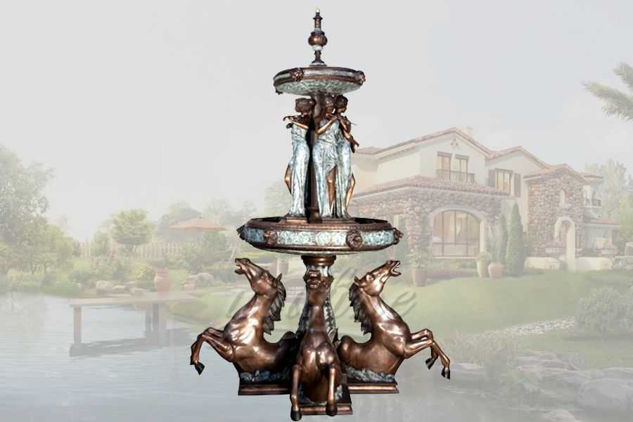 Unique large garden bronze horses fountain with statues