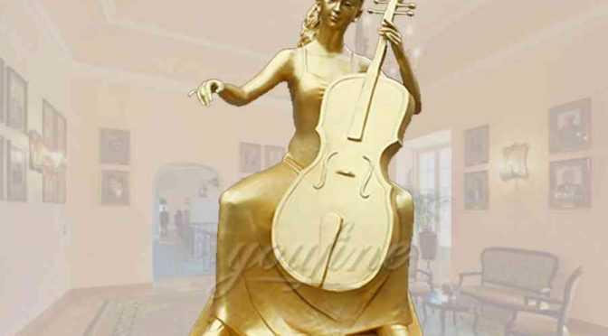 Elegant golden sitting cellist bronze garden statue for decor