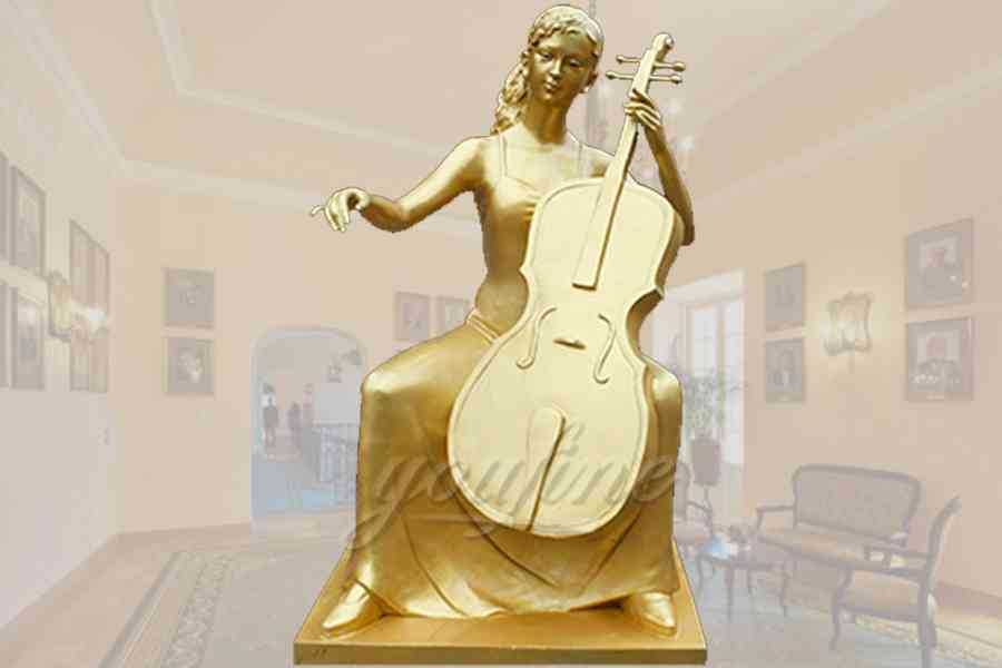 Elegant golden sitting cellist bronze garden statue for decor