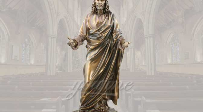 Standing famous religious church detailed casting bronze Jesus statue