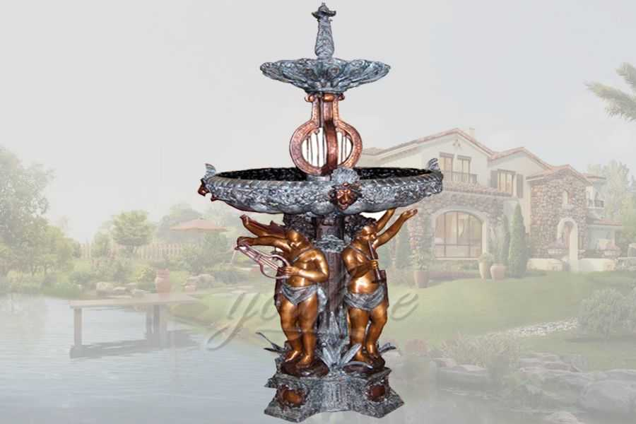 Classical patina garden playing music bronze cherubs fountain
