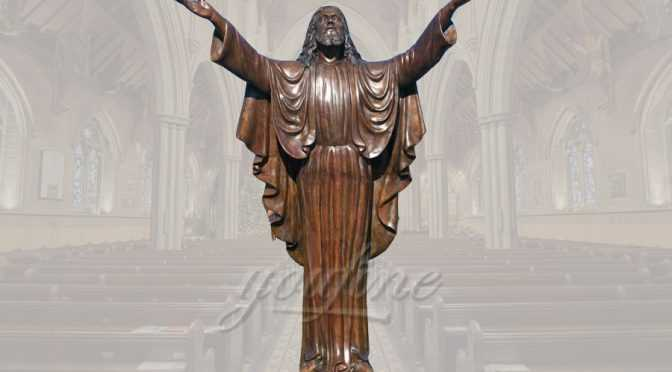 Great standing religious bronze Jesus statue for church