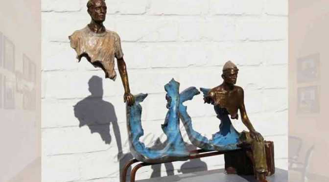 Abstract Bruno Catalano replica famous garden bronze traveler sculpture