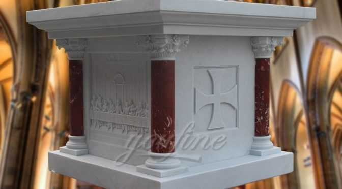 Custom Hand Carved Marble Altar with Victorious Lamb symbol