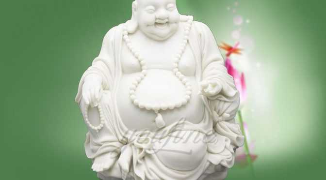 Decorative White Marble Laughing Buddha Statue