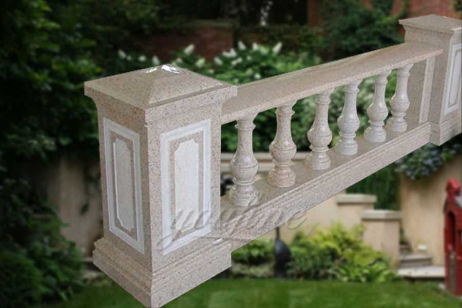 Factory beige marble stone balustrade railing on sale
