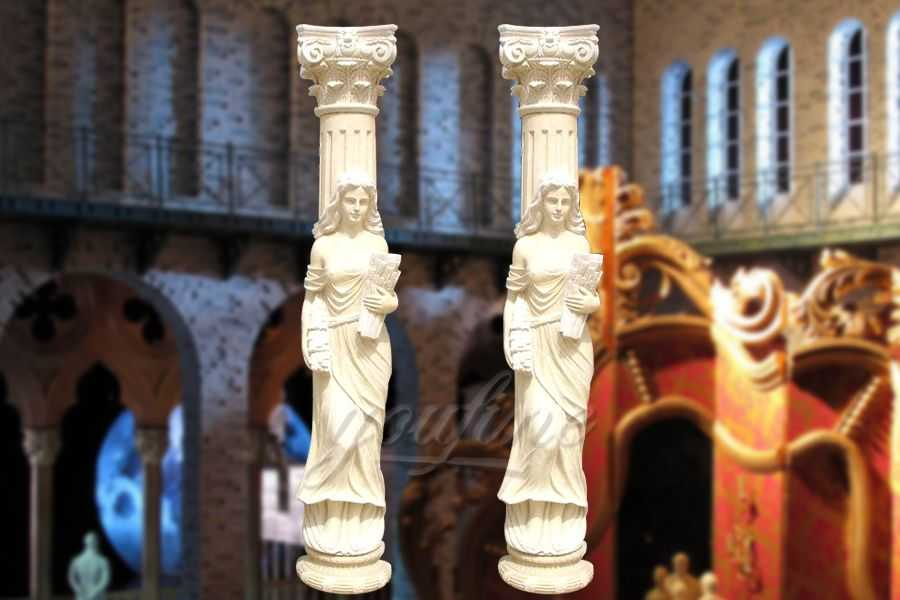 High quality marble columns with statue for wedding decoration