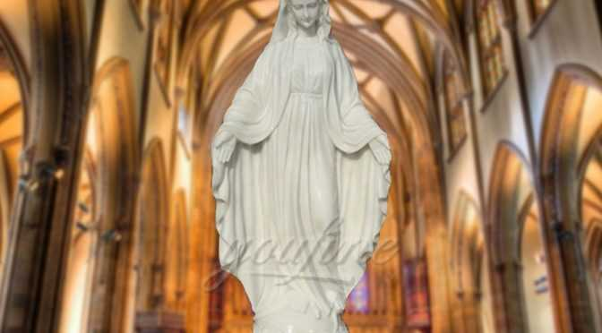 Saint respected White Marble Stone Virgin Mary Statue