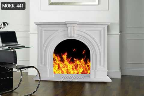 Indoor Victorian white marble fireplace