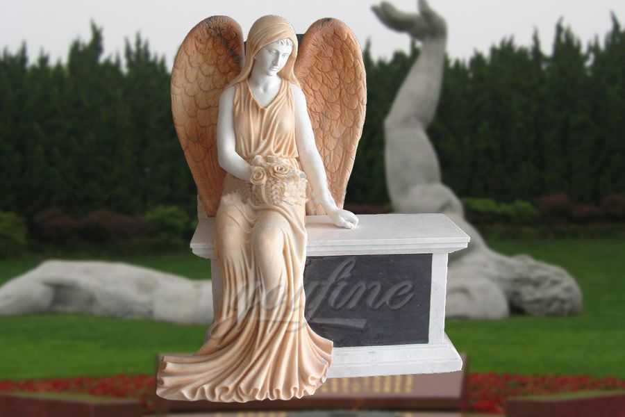 Marble Stone Sitting Angel Tombstone Customized