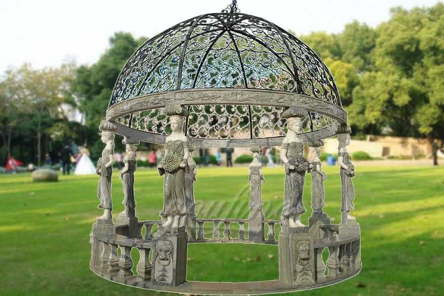 2019 popular marble carving figure stone gazebo