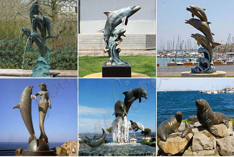 Alive garden modern bronze dolphins fountain for outdoor