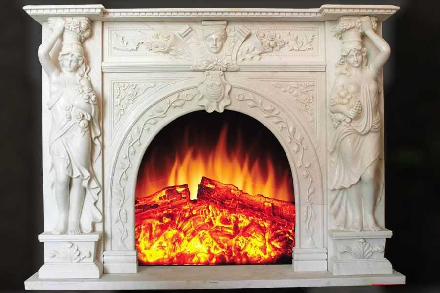 Antique large luxury beige Victorian marble fireplace mantel on sale