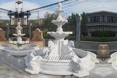 Antique White Marble Outdoor Horse Garden Water Fountains MOKK-84