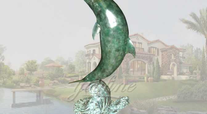 Life size garden bronze dolphin sculpture