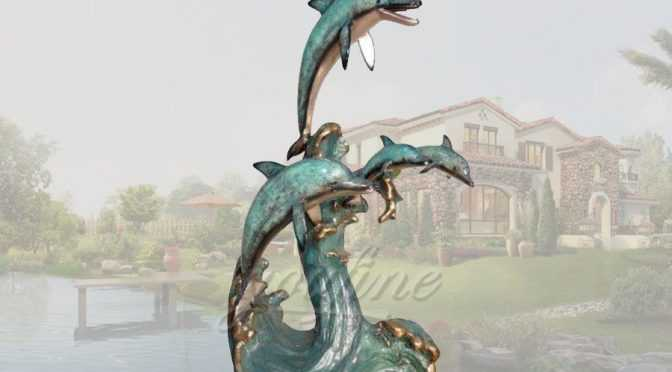 Beauty seaside designs bronze dolphin statue