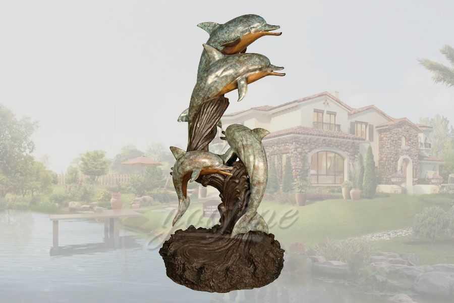 Life size metal craft 3 bronze dolphin sculpture