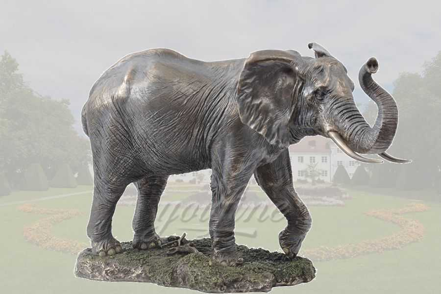 Handmade antique bronze elephant animal sculpture