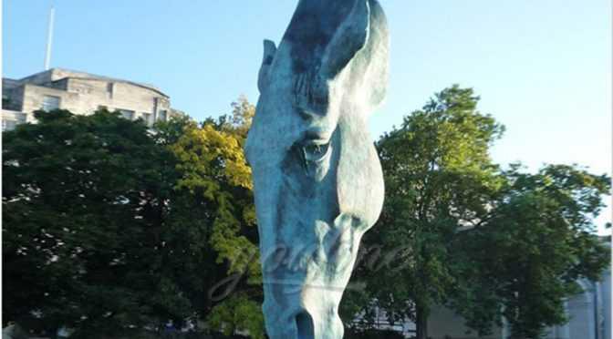 Large Garden Bronze Horse Head Statue