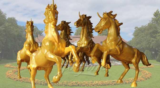 Group Running Bronze Horse Statue