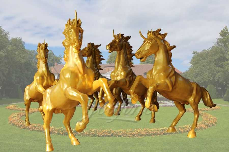 Group Running Bronze Horse Statue