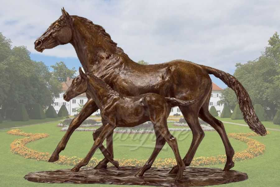 Best Price Bronze Horse Statue of Mare And Foal