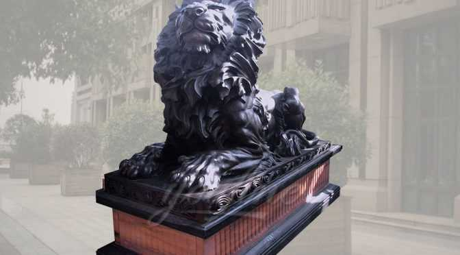 Hot Selling Siting Bronze Lion Statue