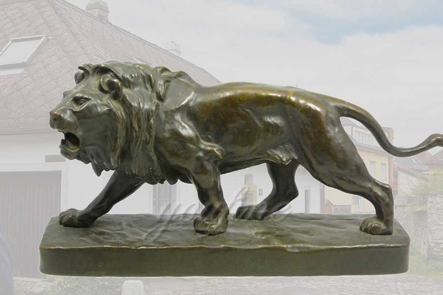 Life Size Bronze Standing Lion Statue