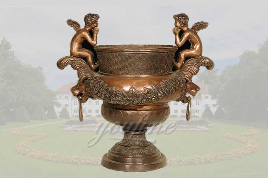 Outdoor Angel Statue Bronze Planter
