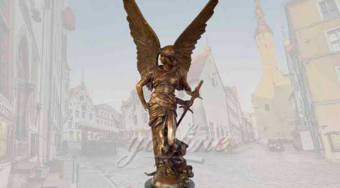 Classical famous outdoor bronze angel statue with sword