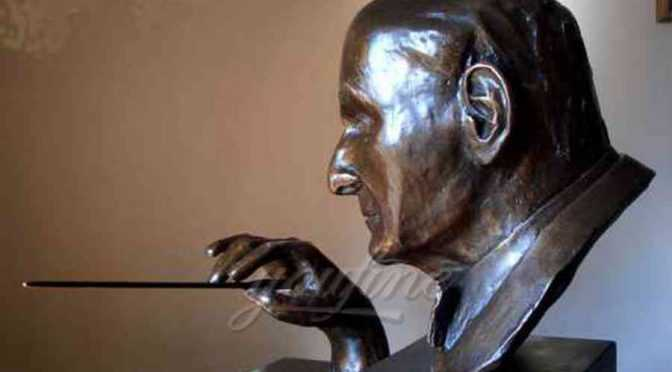 Life size indoor classical music bronze conductor bust statue