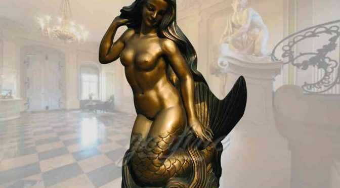 Outdoor golden casting bronze mermaid statue for decor