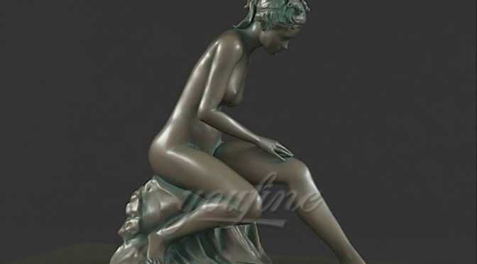 Decorative outdoor sitting sexy bronze girl life size nude statues