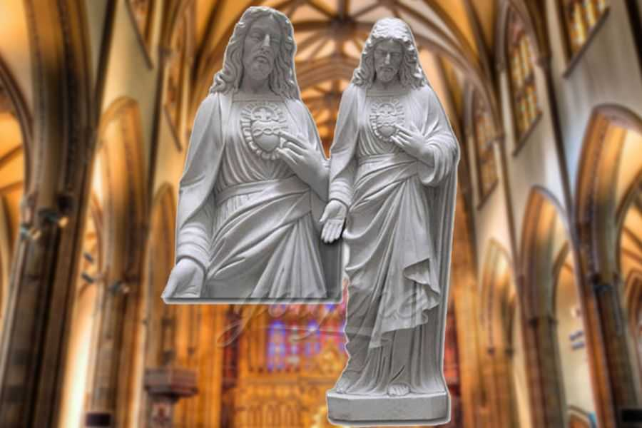 Carved Life Size Sacred Heart Marble Jesus Statue for Sale