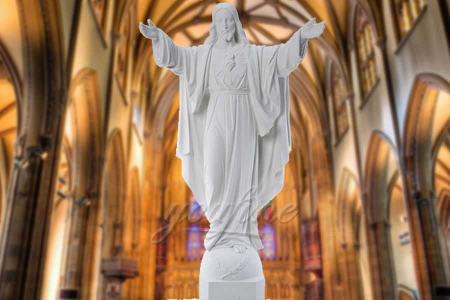 Church Outdoor Catholic Religious Marble Jesus Statue