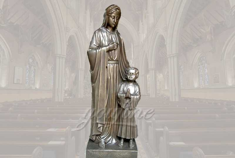 Classical Life Size Religious Bronze Mary and Baby Jesus Statue for Church