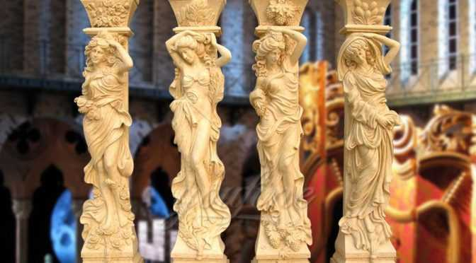 Classical four seasons beige marble columns for decoration