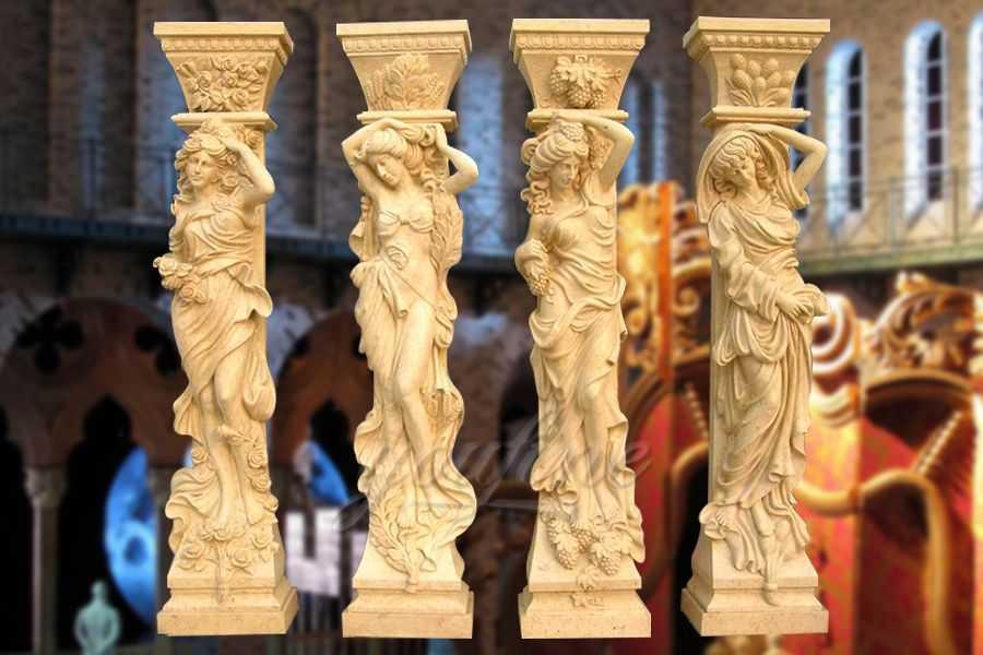 Classical four seasons beige marble columns for decoration ATSC-04