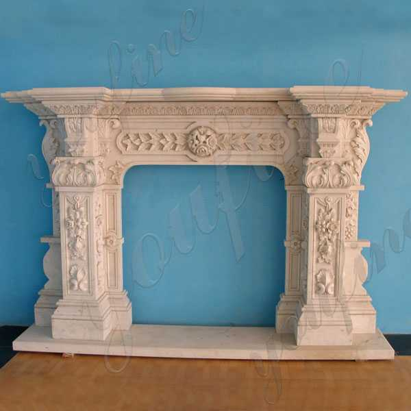 Custom Made Ornate Marble Fireplace Cast Stone Fireplace Surround Design for Sale--MOKK-143