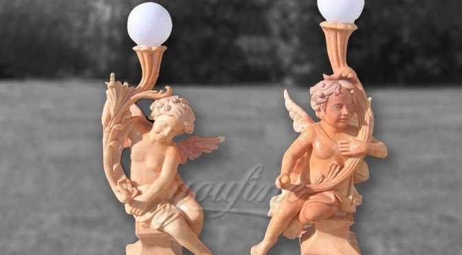 Decoration marble angel lamp statue for garden