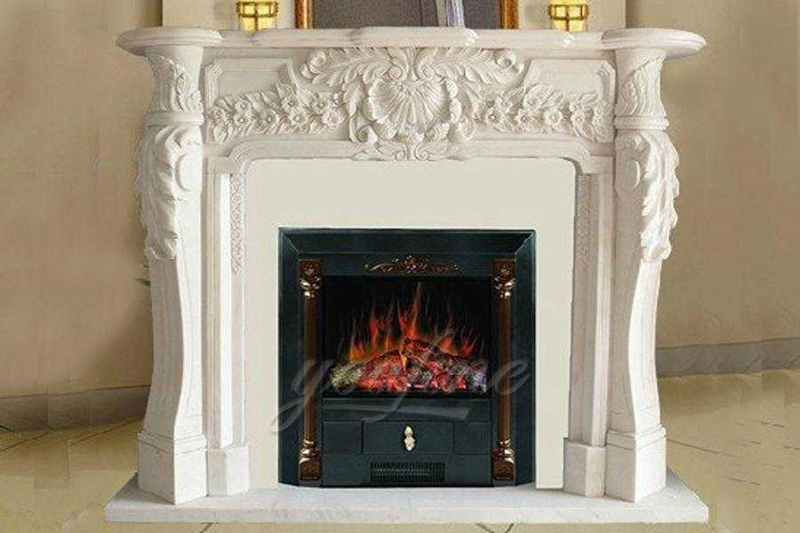 Decorative French style marble fireplace mantel