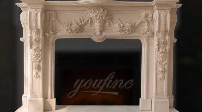 Decorative Georgian beige marble fireplace mantel for sale