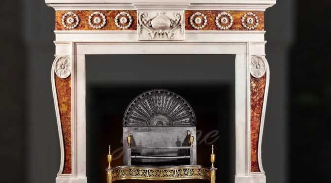 Decorative Georgian multi color marble fireplace frame for sale