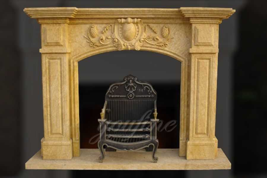 Decorative Regency beige marble fireplace mantel for sale