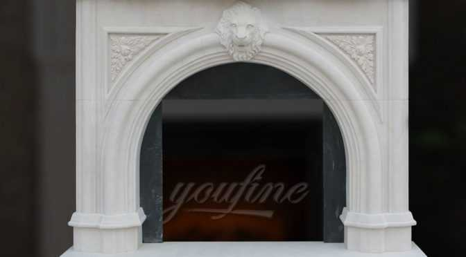 Decorative Victorian Lion Head Marble Fireplace Mantel on Sale