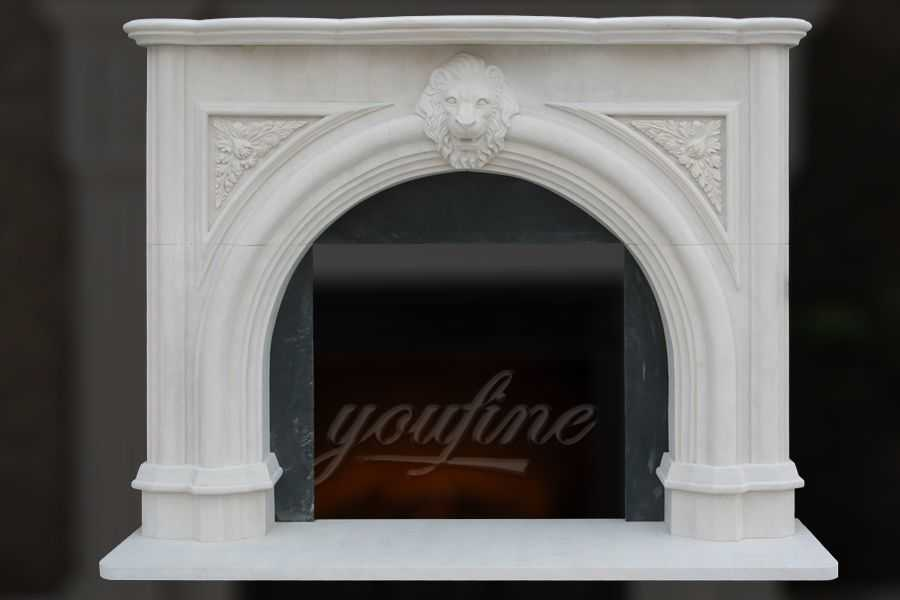 Decorative Victorian Lion Head Marble Fireplace Mantel On