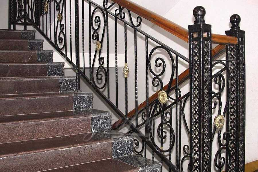 Decorative Wrought Iron Straight Stairway